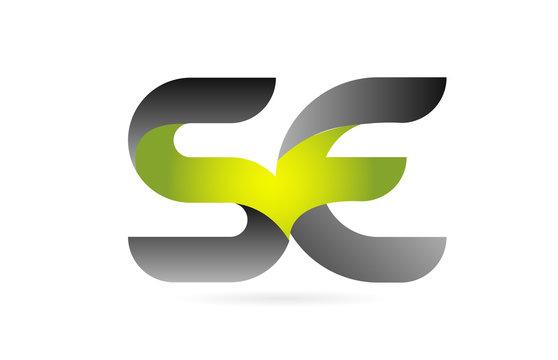 green black alphabet letter SE S E combination logo icon design