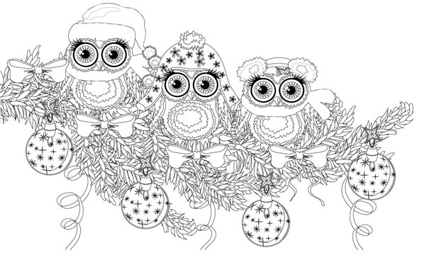 Coloring book page of owl and christmas tree for adult and old children.  illustration. Hand drawn. Zentangle style.
