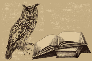 Photo Stands Owls cartoon Bird Owl with an open book. Hand-drawn, vector illustration.