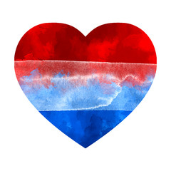 Love Netherlands. Watercolor heart with Netherlands flag colors