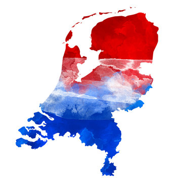 Abstract watercolor map of Netherlands with flag colors