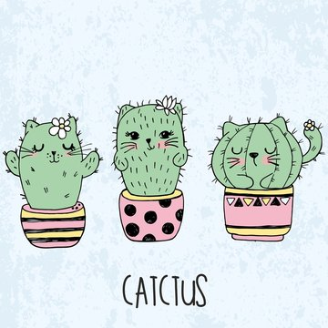 Vector illustration of hand drawn sketch set cute kawaii cat cactus in a flowerpot in anime style with lettering catctus