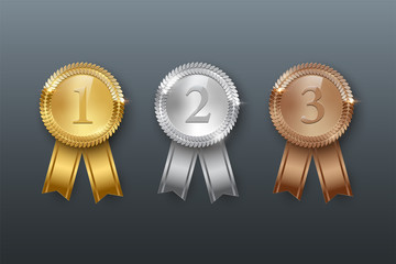 Vector gold, silver, bronze medals and ribbons isolated on gray background.