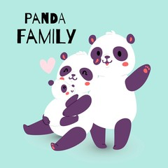 Panda family with adult mother and father with child bear banner vector illustration. Cute mom holding little kid and dad waving with hand. Jungle, forest wildlife, zoo characters.