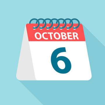 October 6 - Calendar Icon. Vector illustration of one day of month. Calendar Template