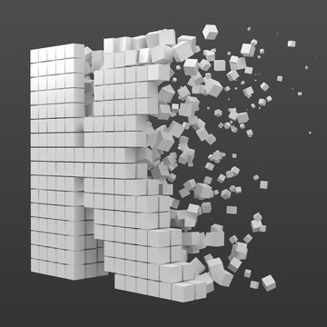 letter K shaped data block. version with white cubes. 3d pixel style vector illustration.