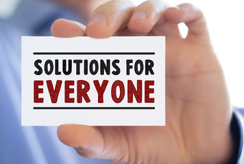 Solutions for everyone - business card message