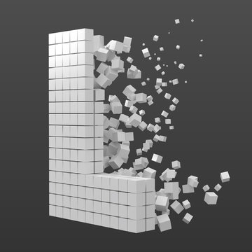 letter L shaped data block. version with white cubes. 3d pixel style vector illustration.