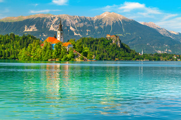 Wall Mural - Panoramic view with Pilgrimage church and lake Bled, Slovenia