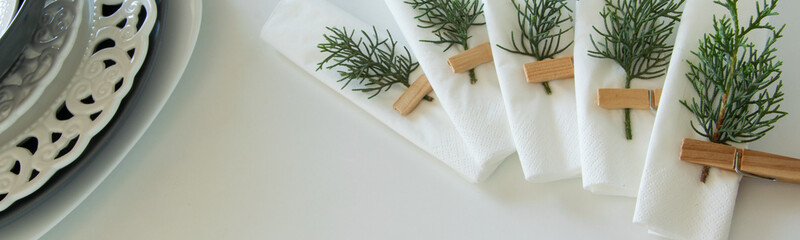 Preparations about arranging the table for winter holidays. Winter decoration, DIY