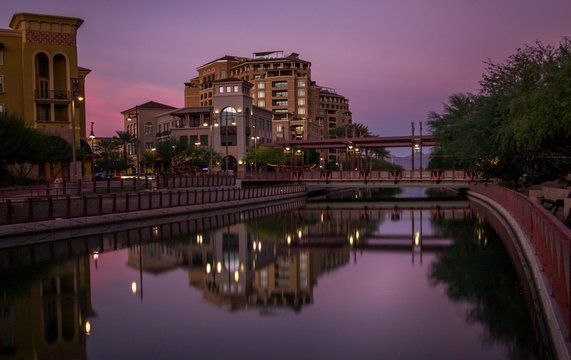 Pink sunset in Scottsdale, Arizona over the canal