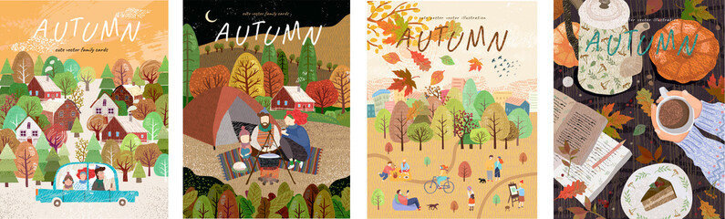 Obraz Autumn. Set of vector illustrations of a happy family on holidays at a picnic, car trips, a park with leaf fall and a cozy table with coffee. Freehand drawings for a poster, banner or card - fototapety do salonu