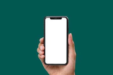 Hand holding the black smartphone with blank screen and modern frame less design on green colour background Fototapete
