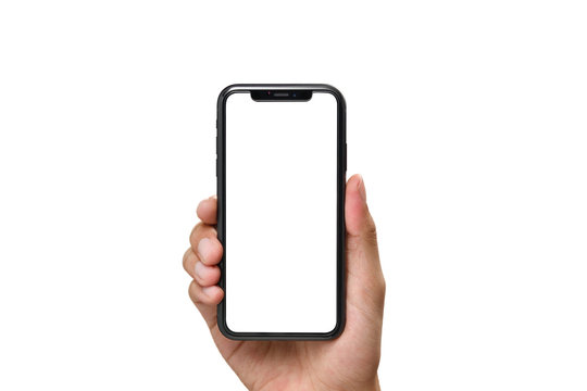 Hand holding the black smartphone with blank screen and modern frame less design isolated on white background