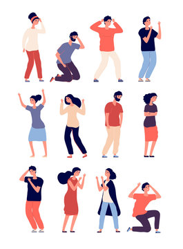Angry people set. Depressed man and woman in conflict, disagreement. Criticize conversation, disregard postures. Vector characters. Illustration of stress and upset, furious guy and depression