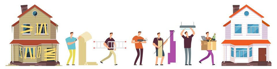 Obraz Home renovation vector. Man repairs house illustration. Renovation and repair house, man worker, construction builder - fototapety do salonu