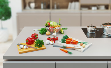 Healthy foods on the table in the kitchen, 3d rendering