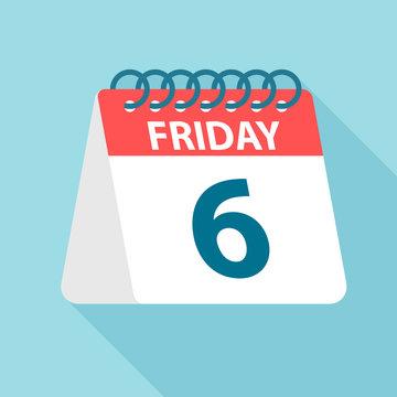 Friday 6 - Calendar Icon. Vector illustration of week day paper leaf. Calendar Template