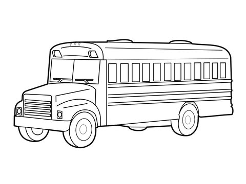 Outline vector illustration of the school bus