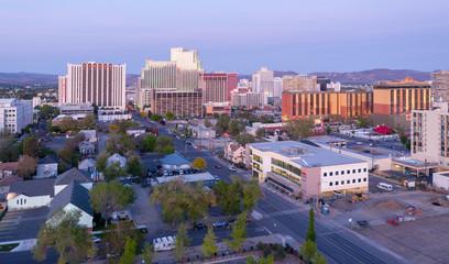 Aerial of the Reno city skyline at sunset. Nevada, USA