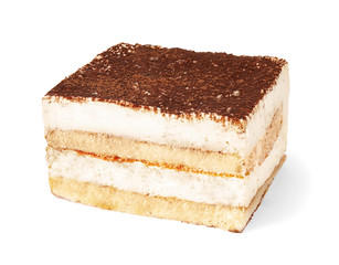 Classic Italian tiramisu cake isolated on white