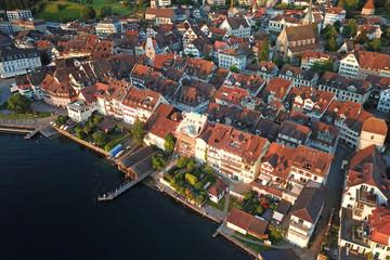 Aerial of Zug Old Town, Switzerland