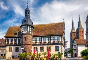 Historisches Rathaus der Hansestadt Höxter an der Weser in Nordrhein-Westfalen