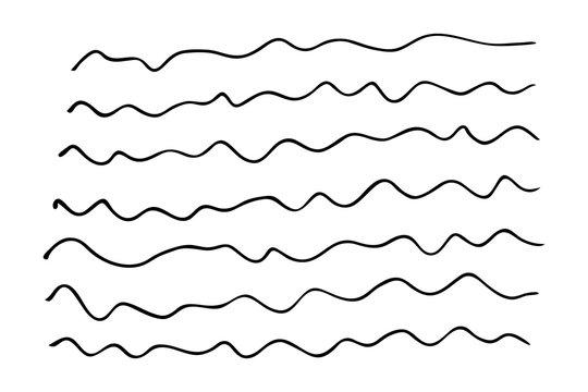 Set of hand drawn wavy lines