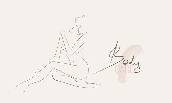 Slender body of young woman.  Female silhouette, sketch. Body care concept. Vector