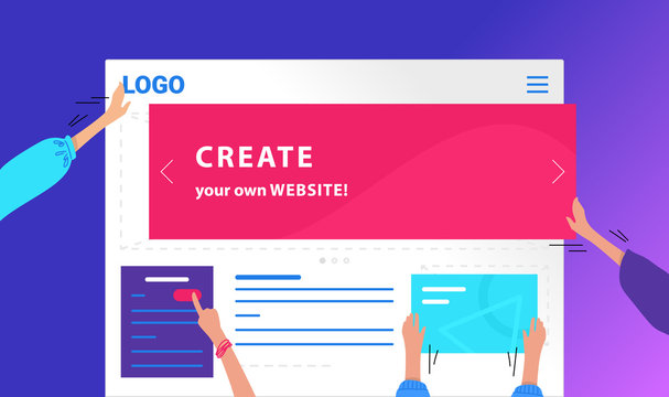 Create your own website flat vector neon design for web banner. Gradient illustration of human hands placing banners