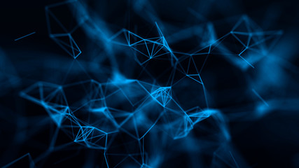 Abstract composition with connecting dots and lines and triangles. Blue background. Plexus effect.