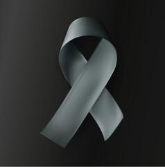 Grey ribbon on black background, vector illustration.