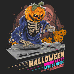 HALLOWEEN PUMPKIN ZOMBIE DJ MUSIC PARTY VECTOR