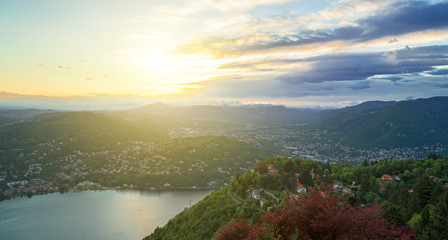 Beautiful view of the sunset on the Brunate mountain.