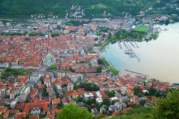 Beautiful view of Como town from Brunate mountain.