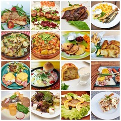 Aluminium Prints Food Collage of lots of popular worldwide dinner foods and appetizers