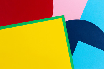 Texture background of fashion papers in memphis geometry style. Yellow, blue, green, red and pastel...