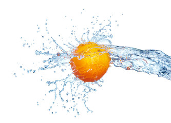 orange in water splash isolated on white