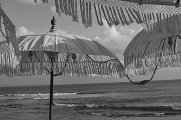 Black and white picture of Balinese sun umbrellas
