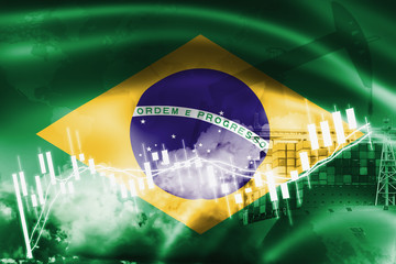 Garden Poster Brazil Brazil flag, stock market, exchange economy and Trade, oil production, container ship in export and import business and logistics.