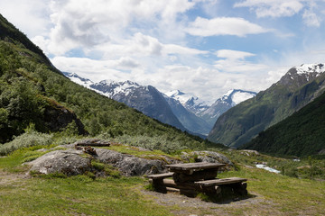 Rest area on the mountains in Stryn, Norway