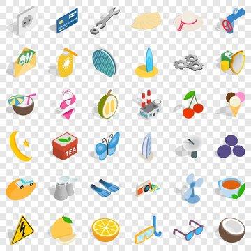 Dubai icons set. Isometric style of 36 dubai vector icons for web for any design