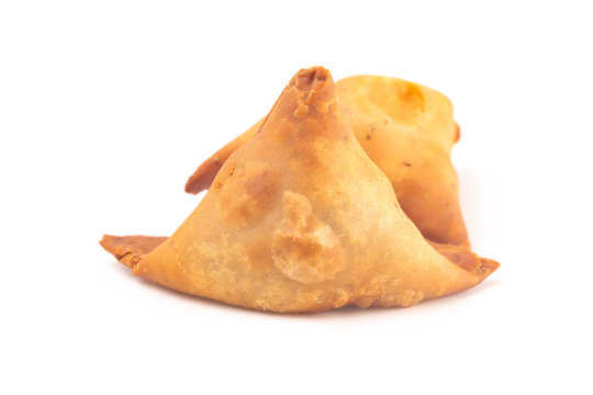 Meat Filled Samosas Isolated on a White Background