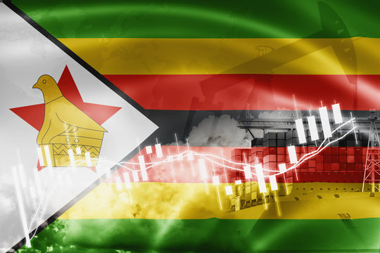 Zimbabwe flag, stock market, exchange economy and Trade, oil production, container ship in export and import business and logistics.