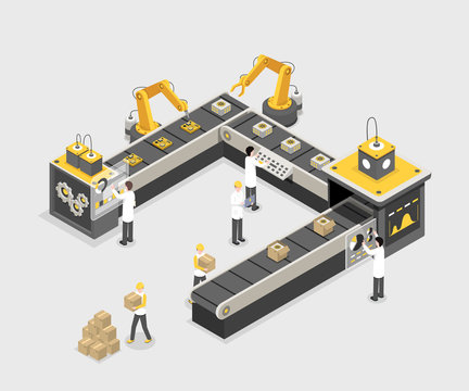 Autonomous, programmed production line with workers. Modern factory, industry manufacturing process, technology vector illustration. Product, gadget creation process isometric 3d concept