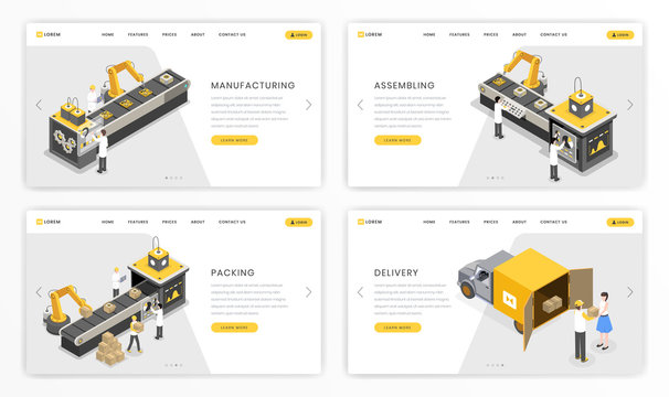 Company industrial process landing page template. Factory stages of product assembly and transportation, delivery website isometric design set. Online merchandise distribution and shipment business