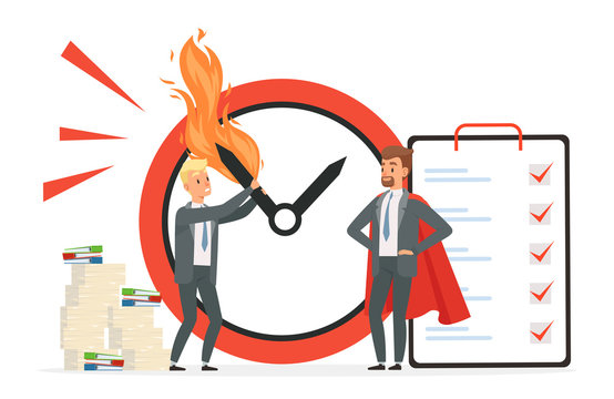 Smart time management vs chaos vector concept. Deadline illustration with cartoon character men. Chaos paperwork and smart management workday illustration