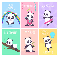 Panda cards. Cute little bear animals cover placard vector templates collection. Illustration of panda card, placard with funny mammal