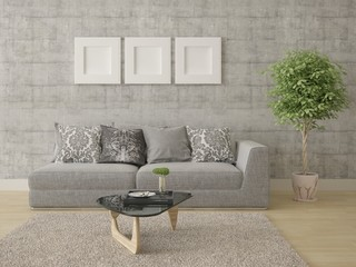 Mock up compact living room with stylish modern sofa and trendy hipster backdrop.