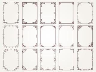 Fototapeta Calligraphic frames. Borders corners ornate frames for certificate floral classic vector designs collection. Illustration of filigree border card, floral rectangular frame obraz